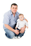 Happy father hugs little son Stock Photo