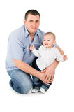Happy father hugs little son Royalty Free Stock Photography