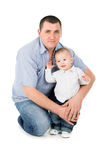 Happy father hugs little son Royalty Free Stock Photos