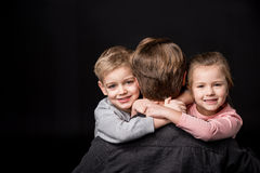 Happy father with kids Stock Photos