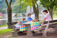 Happy father and kids at picnic. Happy young family, father with three children - smiling boy, cute toddler girl and a little baby enjoying a picnic sitting on a Stock Photos