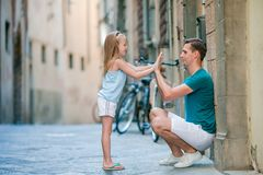 Happy father and little adorable girl in Rome during summer italian vacation royalty free stock photos