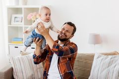 Happy father with little baby boy at home Stock Photography