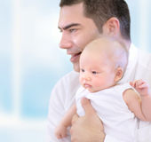Happy father with little baby Royalty Free Stock Images