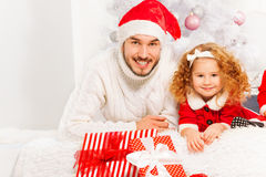 Happy father with little girl on Christmass Royalty Free Stock Photo