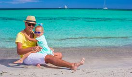 Happy father and little girl enjoy tropical beach Royalty Free Stock Images