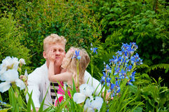 Happy father and little girl at a garden Royalty Free Stock Photography