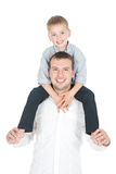 Happy father and little son over white Stock Images