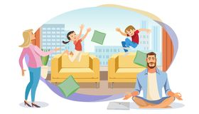 Happy Father in Lotus position surrounded Family vector illustration