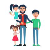 Happy Father of Many Children Vector Illustration. Isolated on white background. Dad with two adorable daughters and teenager son Royalty Free Stock Images