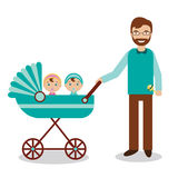 Happy father with newborn children in babystroller Stock Photos