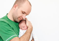 Happy father with newborn Royalty Free Stock Image