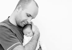Happy father with newborn Royalty Free Stock Photo
