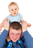 The happy father plays with baby Royalty Free Stock Photography