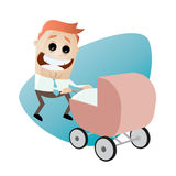 Happy father with pram Royalty Free Stock Photo