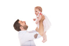 Happy father raise his daughter Royalty Free Stock Photos