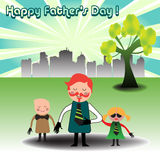 Happy Father's Day. Abstract colorful background with a father with his two children. Father's Day concept Royalty Free Stock Photo