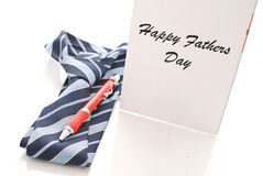 Happy Father's Day. Neck Tie and Pen with Father's Day Greeting Card Royalty Free Stock Image