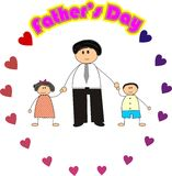 Happy father's day. 2D cartoon illustration of a dad and 2 children vector illustration