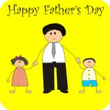 Happy father's day. 2d image of children and father vector illustration