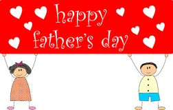 Happy father's day. 2d image of children holding a banner of father's day stock illustration