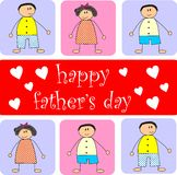 Happy father's day. Colorful background of children with happy father's day text and hearts representing father's day royalty free illustration