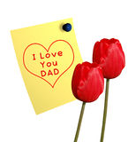 Happy Father's day. Message and tulips Royalty Free Stock Photo