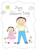 Happy father's day. Greeting card with a small child [daughter] and father Stock Image