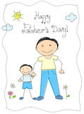 Happy father's day. Greeting card with a small child [son] and father Stock Photo