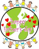 Happy father's day. Globe with children on it celebrating father's day stock illustration