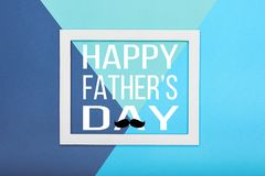 Happy Father`s day Background. Abstract multicoloured paper texture minimalism background. Minimal geometric shapes and lines composition with empty picture royalty free stock image