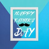 Happy Father`s day Background. Abstract multicoloured paper texture minimalism background. Minimal geometric shapes and lines composition with empty picture Stock Photos
