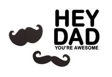 Happy Father`s day background or card. black sign of mustache  empty copy space for inscription. Image stock photo