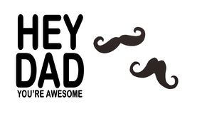 Happy Father`s day background or card. black sign of mustache  empty copy space for inscription. Image stock images