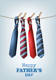 Happy Father`s Day Background With A Colorful Ties On Rope. Vect Royalty Free Stock Image