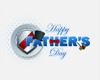 Happy Father's day background with 3d text. Decorated with top hat and bow tie Stock Photos