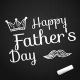 Happy Father's Day on background with doodle objects, vector illustration with text on chalkboard with chalk Royalty Free Stock Photography