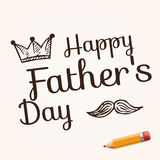 Happy Father's Day on background with doodle objects, vector illustration with text and yellow pencil Royalty Free Stock Images