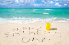 Happy father`s day background on the Miami beach. Happy father`s day background with beer on the Miami beach near the ocean, Florida Stock Images