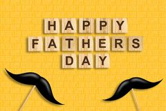 Happy father`s day background. Mustache on a stick. The inscription on wooden blocks on a yellow background. Congratulatory. Background. Festive background royalty free illustration