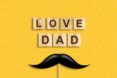 Happy father`s day background. Mustache on a stick. Love Dad, inscription on wooden blocks on a yellow background. Congratulatory. Background. Festive vector illustration
