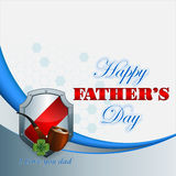 Happy Father's day background with smoking pipe. Happy Father's day design background with smoking pipe and stylized lucky clover and armorial shield behind Royalty Free Stock Image