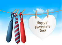 Happy Father`s Day Background With A Three Ties On Rope. Vector Royalty Free Stock Photo