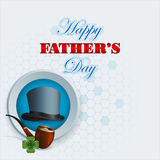 Happy Father's day background with top hat. And smoking pipe with stylized lucky clover in front Royalty Free Stock Photography
