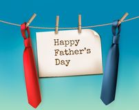 Happy Father's Day Background With A Two Ties. Stock Photos