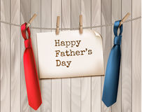 Happy Father's Day Background With A Two Ties On Wooden Backdrop Stock Photos