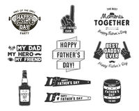 Happy Father`s Day Badges and Design Elements Collection Vintage style father day labels. Monochrome typography style. Best for party greetings cards, t shirt stock illustration