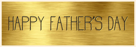 Happy Father`s Day banner with handwritten text on a gold backgr Royalty Free Stock Photos