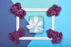 Happy Father`s day or Birthday Pastel Candy Blue Colour Background. Floral flat lay greeting card with picture frame mock up. Happy Father`s day or Birthday stock image
