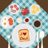 Happy father's day. Breakfast prepared for father Royalty Free Stock Photos